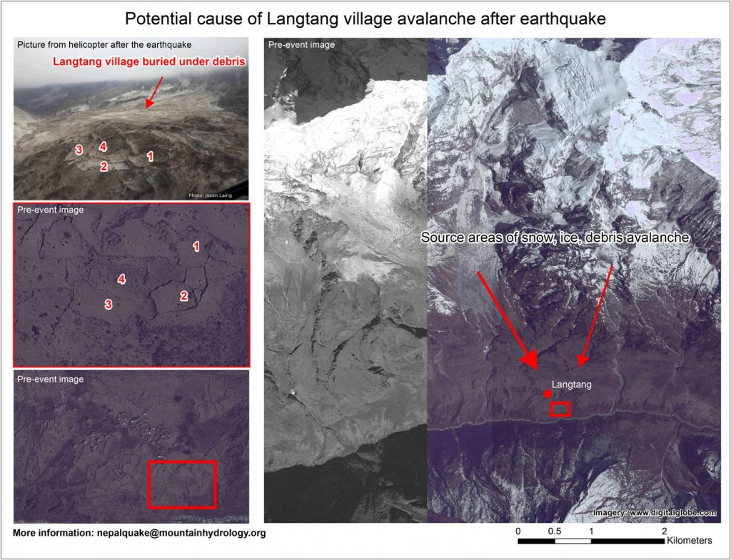 Map of potential cause of Langtang village avalanche