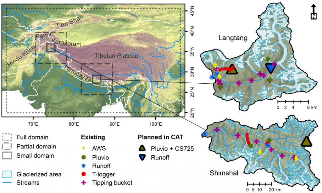 Map showing the modelling domains and the planned measurement equipment for the two study areas in the Himalaya and Karakoram.