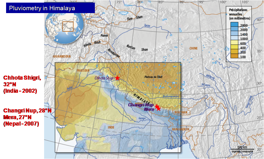 Location of the glaciers monitored in the framework of the GLACIOCLIM-Himalaya project.