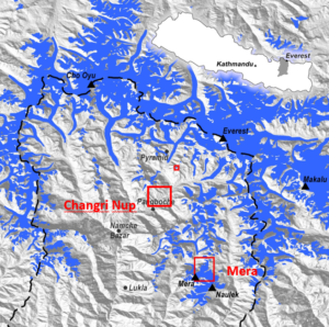Map of the high Dudh Koshi basin (in grey in the inset Nepal map and with limits represented by the dashed black line in the main map) where Mera and Changri Nup glaciers are located (large red squares). Glaciers are represented in blue. The small red square is Pokalde Glacier where some ablation stakes are also surveyed. (Courtesy E. Berthier).