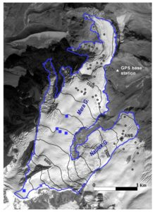 Map of Mera Glacier showing the ablation stake network (black circles), the accumulation sites (blue squares) and the AWS at 5360 m a.s.l. This glacier is 5 km2, flows from 6430 m to 4950 m a.s.l. and is mostly North orientated. (Courtesy E. Berthier).