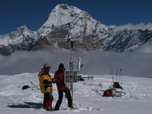 AWS on Mera Glacier, at 5360 m a.s.l., November 2010. Makalu is visible in the background (© P. Wagnon).