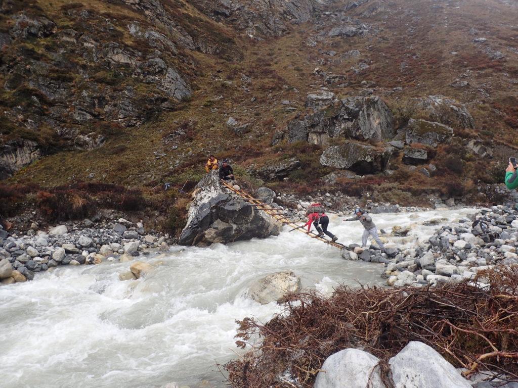 Self made bridge over Langtang river