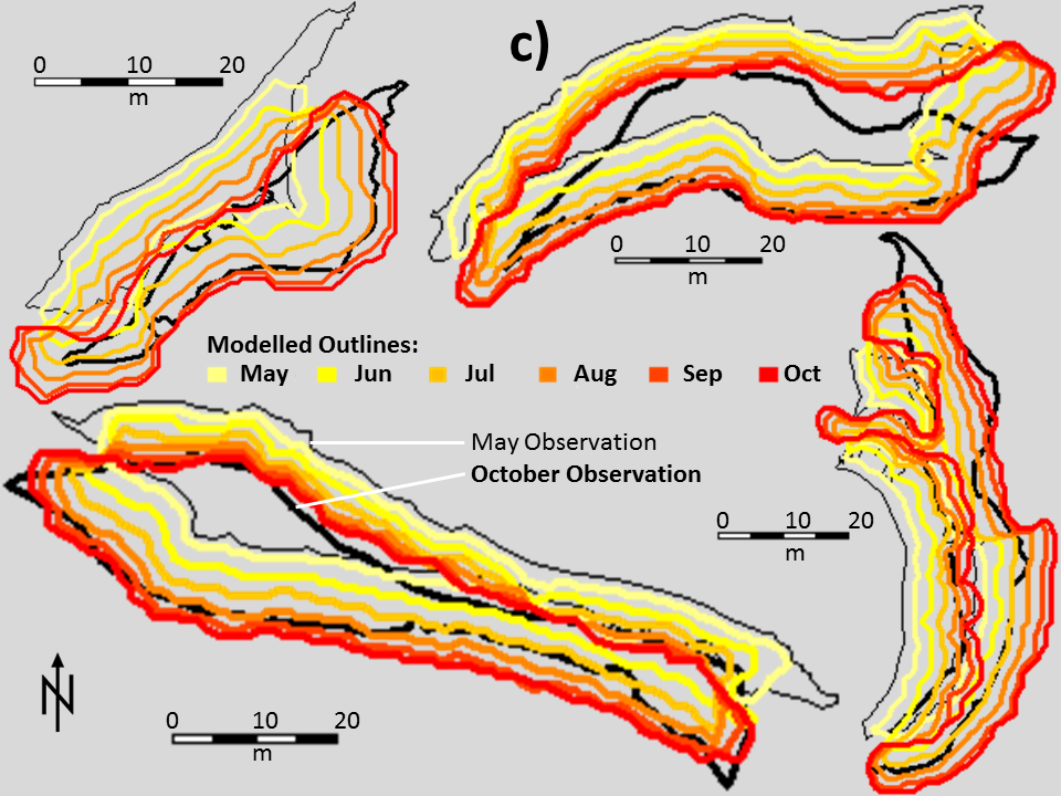 Simulated cliff evolution based on the monthly updated outlines.